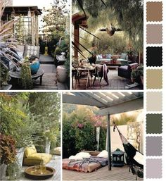 5 Outdoor Home Decorating Color Schemes and Patio Ideas for Summer Decorating-calming and elegant