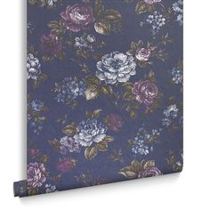 Muse French Navy Wallpaper from the Exclusives Collection by Graham & Brown Small Bathroom Wallpaper, Home Wallpaper, Wallpaper Ideas, Purple Wall Paint, Peacock Christmas, Navy Walls, Brown Wallpaper, Paint Color Schemes, Dusty Purple
