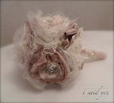 Dreamy Fabric Bridal Bouquet With Ivory And by ISaidYesBoutique, £155.25