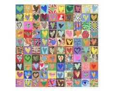 100 corazones mixta assemblage collage original en madera