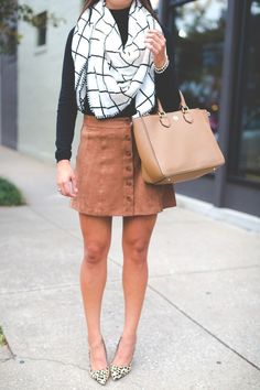 fall blanket scarf, suede skirt // grace wainwright from a southern drawl fashion blog