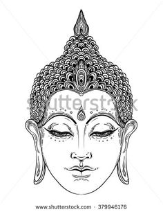 Buddha face isolated on white. Esoteric vintage vector illustration. Indian, Buddhism, spiritual art. Hippie tattoo, spirituality, Thai god, yoga zen  Coloring book pages for adults.