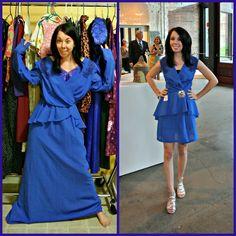 GENIAL!!!!  Re-diseña vestidos y piezas que son horrorosas convirtiéndolas en vestidos muy chics!!! ;) BRAVOOO!
