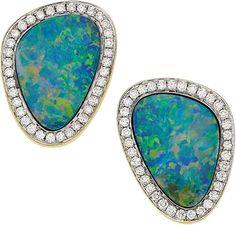 Opal Doublet, Diamond, Gold Earrings.                                                                                                                                                                                 More