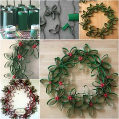 Creative Ideas - DIY Beautiful Paper Roll Christmas Wreath