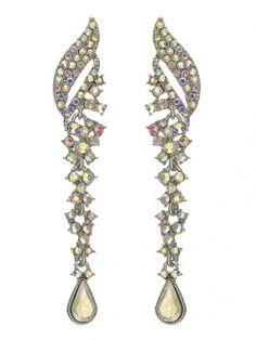 Hinged Rhinestone Chandelier Earrings