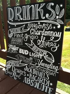 Handwritten 15x20 Chalkboard Wedding MENU Drinks Sign