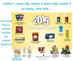Order 1, save 5%, order 2 save 10%, order 3 or more, lets talk...  Sale ends Aug 31, contact Sharise for orders/ questions