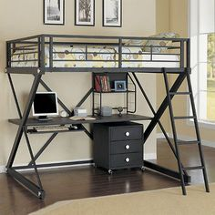 Modern Versatile Safe Black Metal Full Size Youth Study Loft Bunk Bed Desk  Shelf