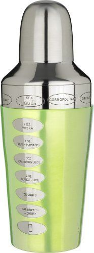 Trudeau Fusion Recipe 20-Ounce Cocktail Shaker, Green by Trudeau. $20.29. Comfortable grip. Drink recipes engraved into the shaker with an easy view window that makes recipes easy to follow. Attractive stainless and green color and design. Cocktail shaker. Made of stainless steel. Get ready for homemade cocktails like the pros make. A shaker is an essential bartending tool for professionals and hobbyist, alike. Whether you're making a martini or a sex-on-the-beach, you'll n...