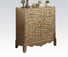 Acme Furniture - Tisya Wood Console Table in Antique Wood - 90111