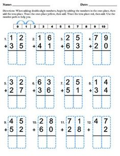 Double Digit Addition with Traceable Boxes | Second grade ...