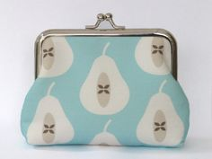 Large Coin Purse Pear in Pale Turquoise by LouiseBrainwood on Etsy, £22.00