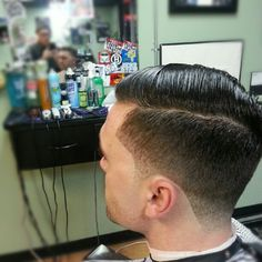 Classic pomade fade side part