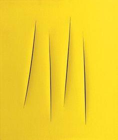 Lucio Fontana, 'Concepto espacial', 1962 / arte, pintura, amarillo, espacialismo