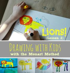 Drawing with Kids :: Lions! (Monart Method Lesson 2)