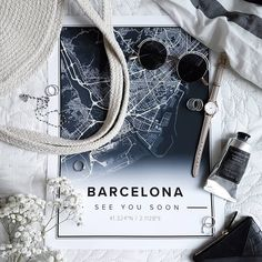 Map poster of Barcelona, Spain. Print size 30 x 40 cm available at Mapiful.com