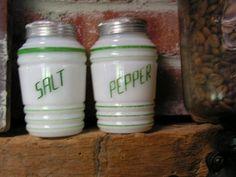 Vintage Salt Pepper Shakers Milk Glass Green Stripes Beehive Range Set 1930 40   eBay