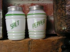 Vintage Salt Pepper Shakers Milk Glass Green Stripes Beehive Range Set 1930 40 | eBay