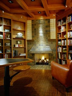 Rustic and Warm Home Office/library with Fireplace