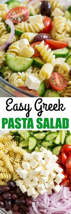 A fresh and easy Greek Pasta Salad just in time for summer! This crowd-pleasing side dish is tasty with grilled meats and at all your backyard barbecues. This Easy Greek Pasta Salad is all about one thing: The chunks of feta cheese. Yes, I love the chewy pasta, the crunch of the fresh veggies, and the tangy dressing. It's basically summer in a bowl, colorful and fresh. via @ohsweetbasil