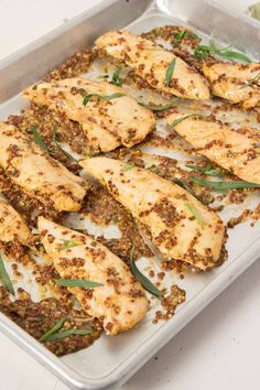 Mustard Baked Chicken Tenders – Super simple and deliciously spicy chicken recipe. The mustard sauce is perfect over rice or a salad.