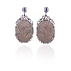 Large Lava Cameo Earrings by Danielle Queller