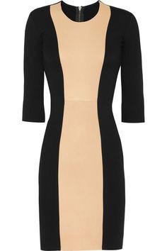 Mason by Michelle Mason|Leather-paneled stretch-jersey dress|NET-A-PORTER.COM