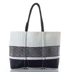 Large Black Kevlar Stripe Tote - handcrafted from recycled sails.