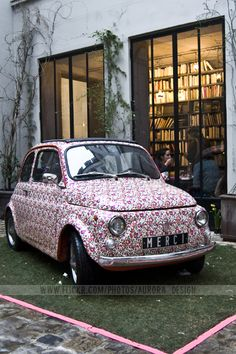 Merci auto in a pretty pink Liberty of London print, in Paris. Oui, oui.  Moi aussi.