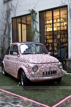 Merci car with Liberty of London print in Paris