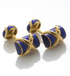 A pair of enamel cufflinks, Schlumberger, Tiffany & Co.  signed Tiffany & Co., Schlumberger; mounted in eighteen karat gold