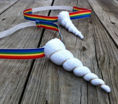 Rainbow Unicorn headband - white unicorn horn headband with rainbow ribbon