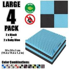 New 4 Pcs Black and Baby Blue Bundle Egg Crate Convoluted Acoustic Tile Panels Sound Absorption Studio Soundproof Foam Foam Panels, Tile Panels, Studio Soundproofing, Egg Crates, Recording Studio Home, Sound Absorption, Sound Absorbing, Upholstery Foam, Ebook Cover