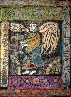 Gordana Brelih---Angel, Stitched and burned Tyvek, Textile Fiber Art, Textile Artists, Textiles Techniques, Free Machine Embroidery, Angel Art, Sacred Art, Soft Sculpture, Felt Art, Fabric Art