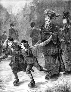 Skating. Victorian illustration to download showing a picture of two children, a girl and a boy, ice skating on a pond, pulling their mother behind them by a scarf. Download high quality jpeg for just £5. Perfect for framing, logos, letterheads, and greetings cards.
