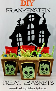 DIY Frankenstein Treat Baskets are so adorable and easy to make! This Halloween craft can be made by just about anyone. They make a great classroom Halloween treat or hand them out on Halloween night as treats to the trick-or-treaters!