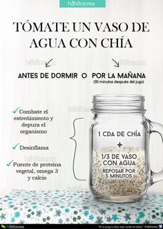 12 tips para comer sanamente. 12 tips to eat health… Water iconography with chia. 12 tips to eat healthy. 12 tips to eat healthily. Healthy food Delicious food Diet Food without calories Healthy Juices, Healthy Habits, Healthy Drinks, Healthy Tips, Healthy Eating, Healthy Recipes, Healthy Food, Detox Recipes, Nutrition Drinks