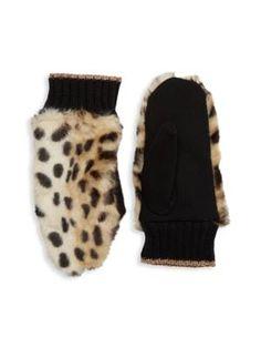 Bcbgeneration Leopard-print Faux Fur Trim Mittens In Black Bcbgeneration, Fur Trim, World Of Fashion, Luxury Branding, Mittens, Faux Fur, Women Accessories, Black, Style
