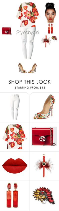 """""""Untitled #453"""" by bisiekemode ❤ liked on Polyvore featuring (+) PEOPLE, Christian Louboutin, Dolce&Gabbana, Gucci, Fendi, Oscar de la Renta and Stephen Webster"""