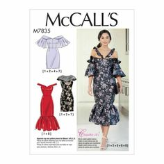 McCall's Misses' Dresses pattern. Dresses have close-fitting lined bodice with boning. A-lined semi-fitted skirt and invisible back zipper. Mccalls Sewing Patterns, Dress Patterns, Fabric Patterns, Print Patterns, Patron Simplicity, Miss Dress, Fitted Skirt, Size 14 Dresses, Corsage