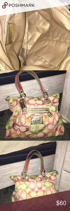 🌸👛Coach Poppy Tote🌸👛 Authentic Coach Poppy Tote has minor stains on the outside and minor lipstick stains in the inside zip pocket. Still a GREAT FIND for Coach collectors. 🌸🌸Waiting for your offer🌸🌸 Coach Bags Totes