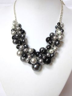 "Pearl Cluster Necklace ""Shades of Dark"" -Black, Gray and Silver- Chunky, Choker, Bib, Necklace, Wedding, Bridesmaid, Prom. $42.50, via Etsy."