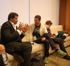 Neil deGrasse Tyson chats with guest, futurist Jason Silva before StarTalk Live at the Business Insider Ignition Conferencing in NYC, November 27, 2012 (photo by Stacey David Severn)