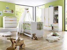 Chambre bébé verte Duo Fresh de Gheuter : Lit Bébé, Commode Table à Langer, Armoire et Étagères en option.