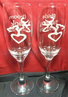 Buck doe deer heart hunting hunter redneck wedding reception toasting glasses flutes