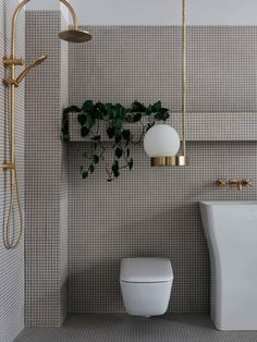 Bathroom Decor luxury Luxury Bathroom Decor: Modern luxe bathroom with graphic square tile and gold hardware Modern Bathroom Decor, Bathroom Interior, Bathroom Ideas, Modern Bathrooms, Bathroom Inspo, Design Bathroom, Small Bathrooms, Bathroom Colors, Bathroom Assessories