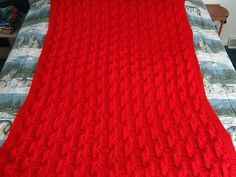 Cherry Red Hand Knitted Geometric Afghan, Blanket, Throw - Home Decor - Free Shipping
