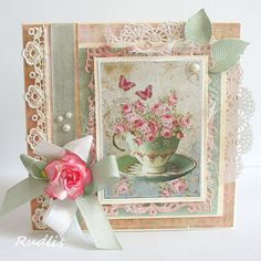 DIY Shabby Chic Home Decorating selections just for you Shabby Chic Karten, Shabby Chic Cards, Pretty Cards, Cute Cards, Coffee Cards, Birthday Cards For Women, Ideas Geniales, Mothers Day Cards, Card Making Inspiration