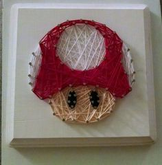 DIY. String art. Mario. Mushroom. Power up. Nintendo